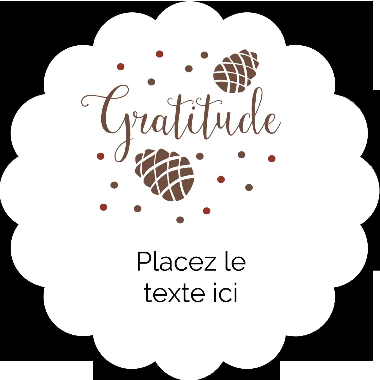 """2"""" Diameter Étiquettes festonnées - Gratitude"""