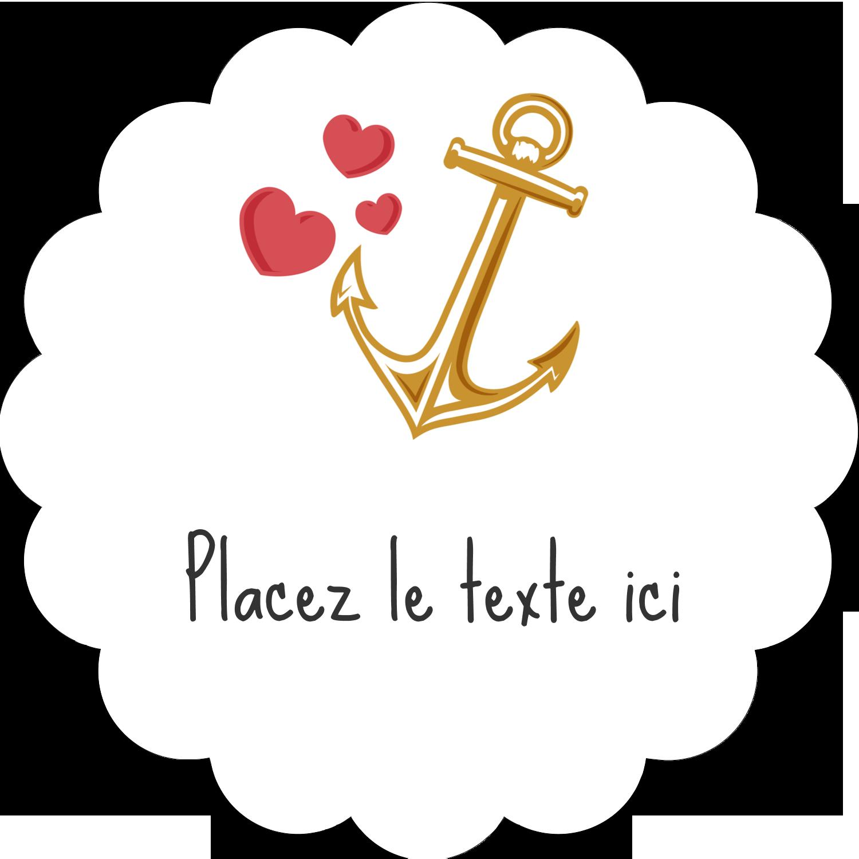 """2"""" Diameter Étiquettes festonnées - Ancre de Saint-Valentin"""