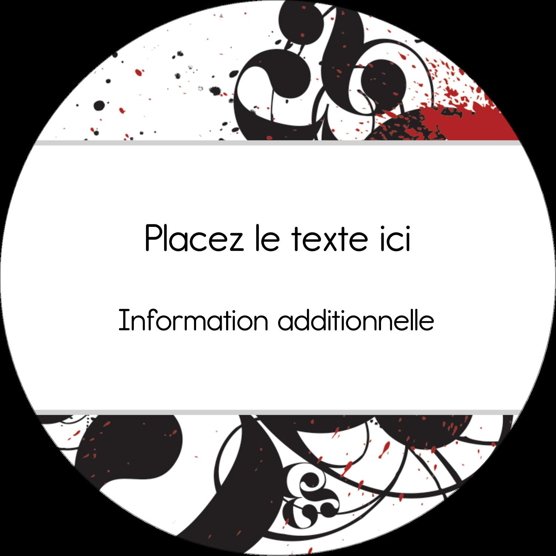 "3"" Diameter Étiquettes rondes - Fioritures dramatiques"