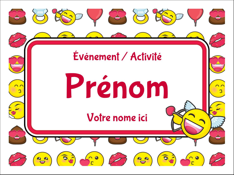 """3"""" x 4"""" Étiquettes badges autocollants - Émoji de Saint-Valentin"""