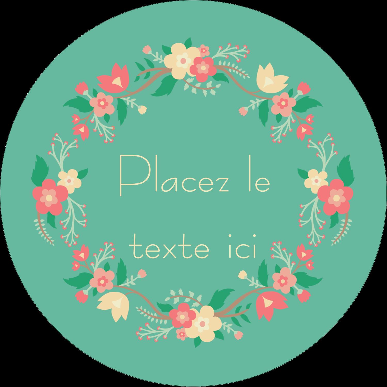 """3"""" x 2¼"""" Étiquettes arrondies - Couronne florale"""