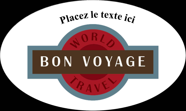 """1½"""" x 2½"""" Étiquettes ovales - Voyage d'antan"""