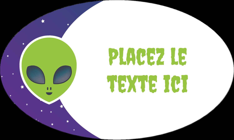 """1½"""" x 2½"""" Étiquettes ovales - Fête d'extraterrestres"""