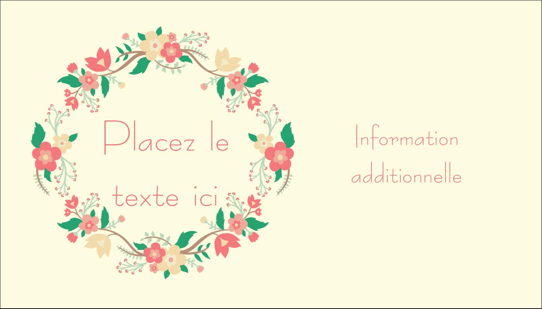 """2"""" x 3½"""" Carte d'affaire - Couronne florale"""