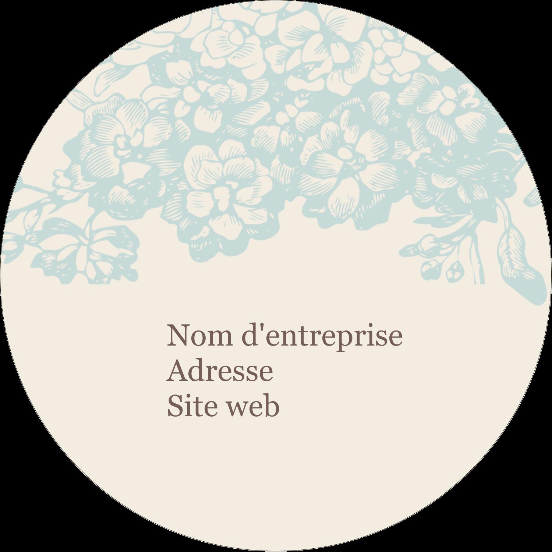 """2½"""" Diameter Étiquettes rondes - Fleur bleue"""