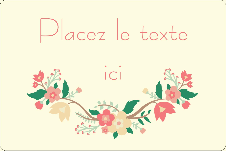 """3"""" x 3¾"""" Étiquettes rectangulaires - Couronne florale"""