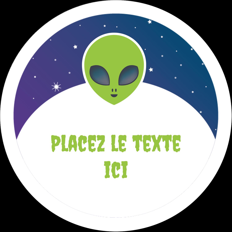 """4¾"""" x 3½"""" Étiquettes arrondies - Fête d'extraterrestres"""