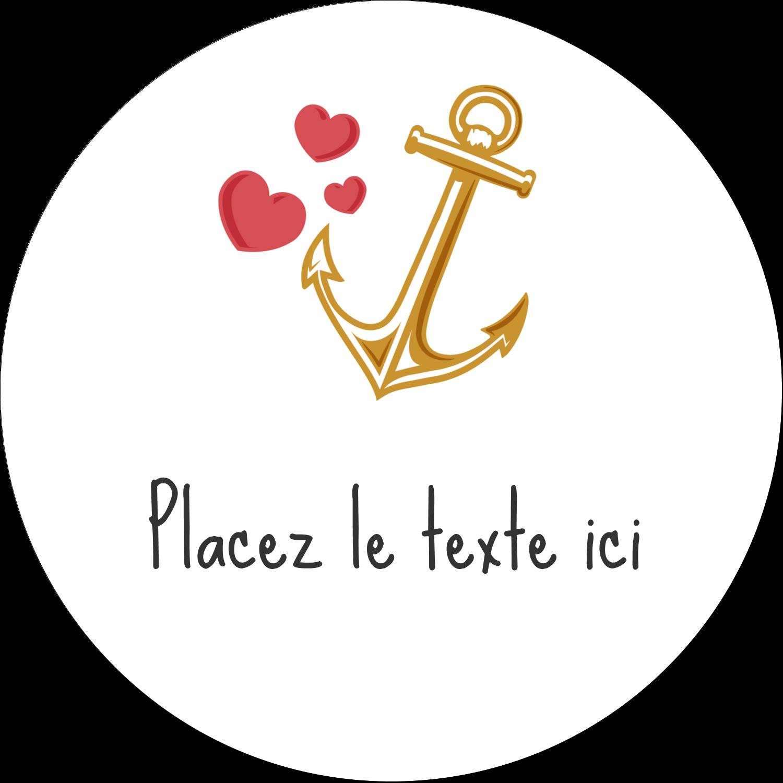 """2"""" Diameter Étiquettes rondes gaufrées - Ancre de Saint-Valentin"""