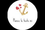 Ancre de Saint-Valentin  Étiquettes rondes gaufrées - gabarit prédéfini. <br/>Utilisez notre logiciel Avery Design & Print Online pour personnaliser facilement la conception.