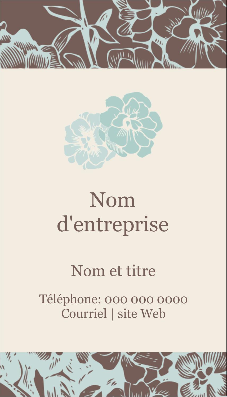 """2"""" x 3½"""" Carte d'affaire - Fleur bleue"""
