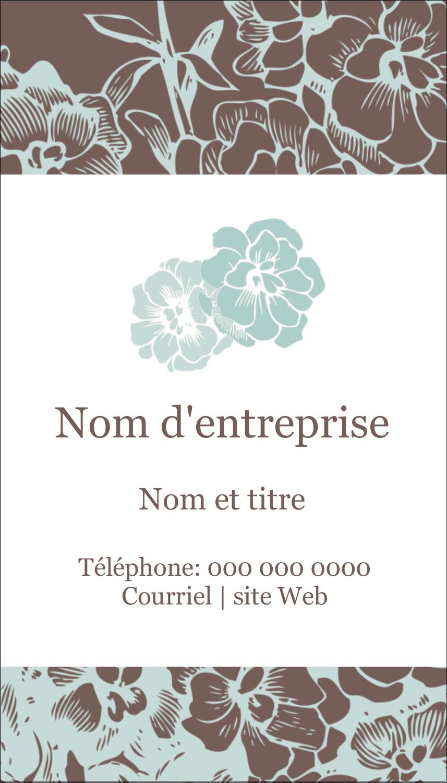 """3½"""" x 2"""" Carte d'affaire - Fleur bleue"""