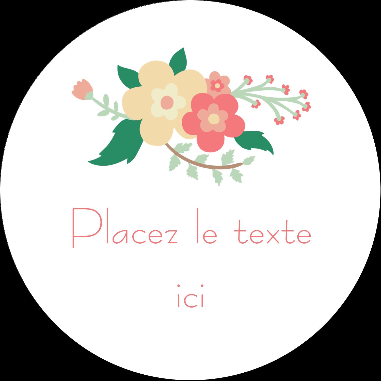 """4¾"""" x 3½"""" Étiquettes arrondies - Couronne florale"""