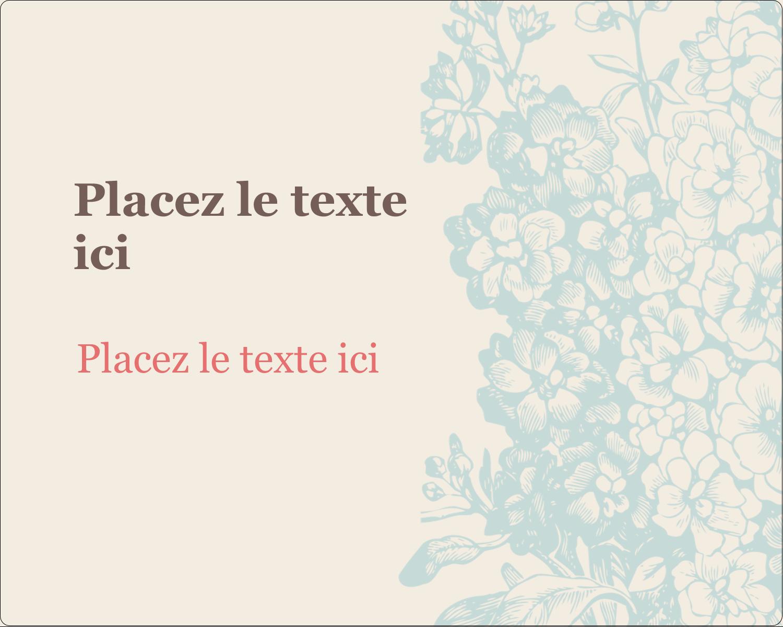 """3"""" x 3¾"""" Étiquettes rectangulaires - Fleur bleue"""