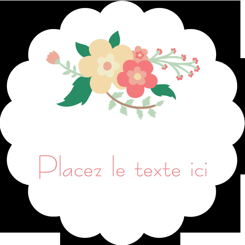 """2"""" Diameter Étiquettes festonnées - Couronne florale"""