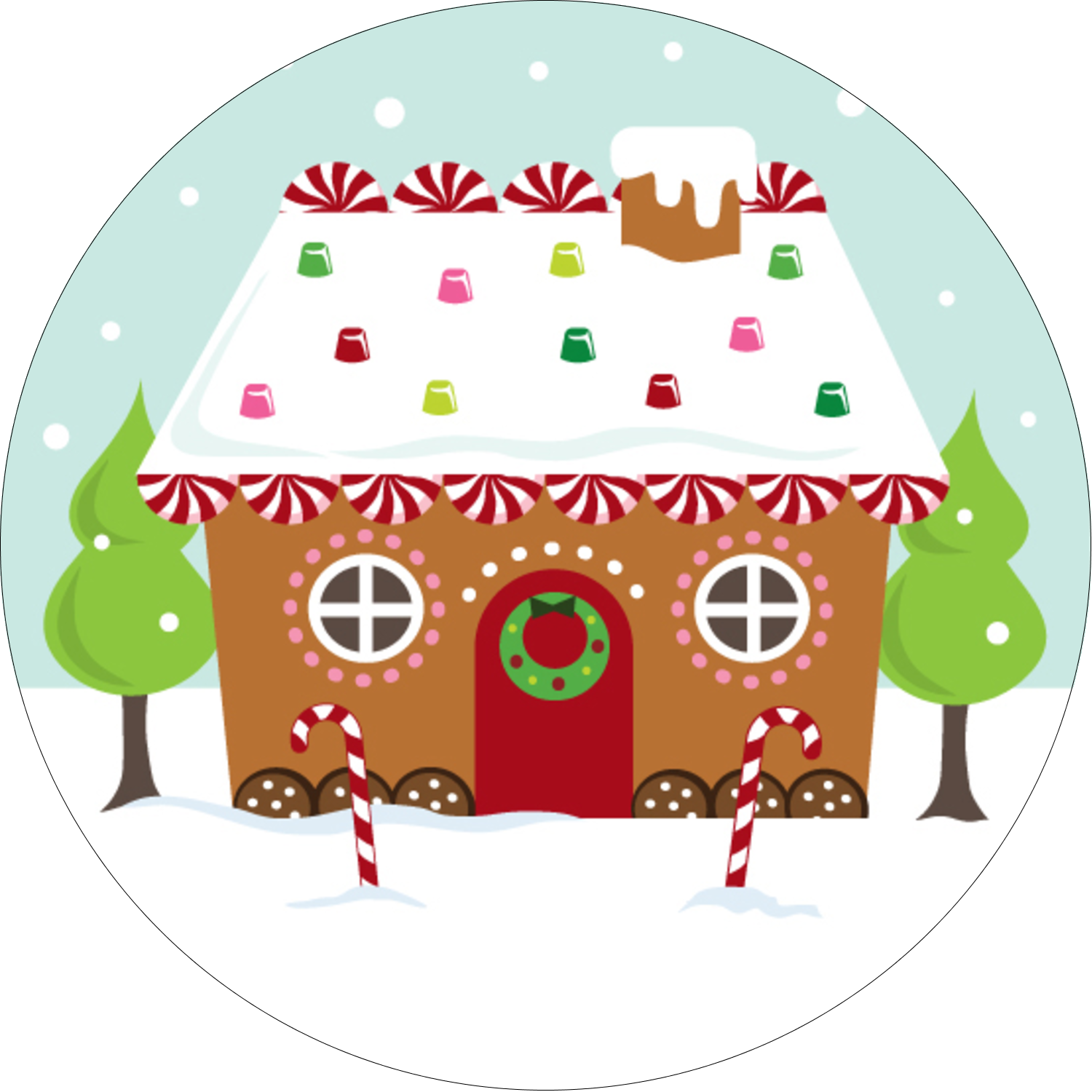 """2½"""" Round Label - Gingerbread House"""