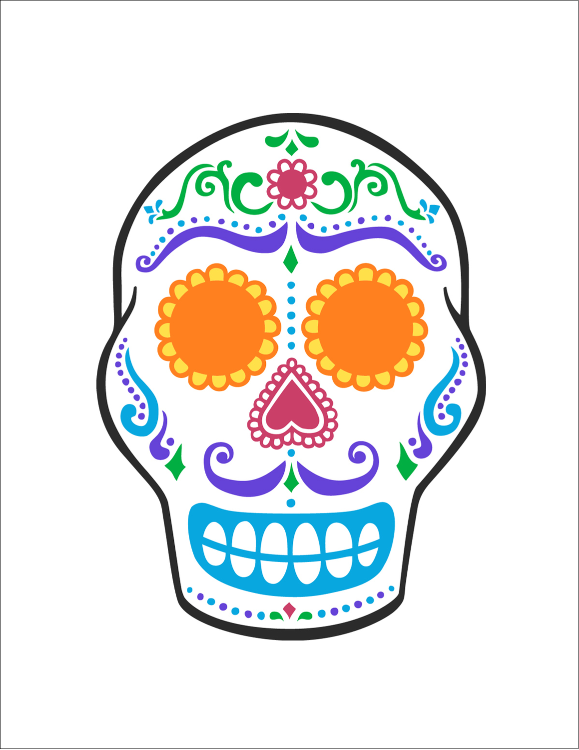 "8½"" x 11"" Sticker Project Paper - Day of the Dead Skull"