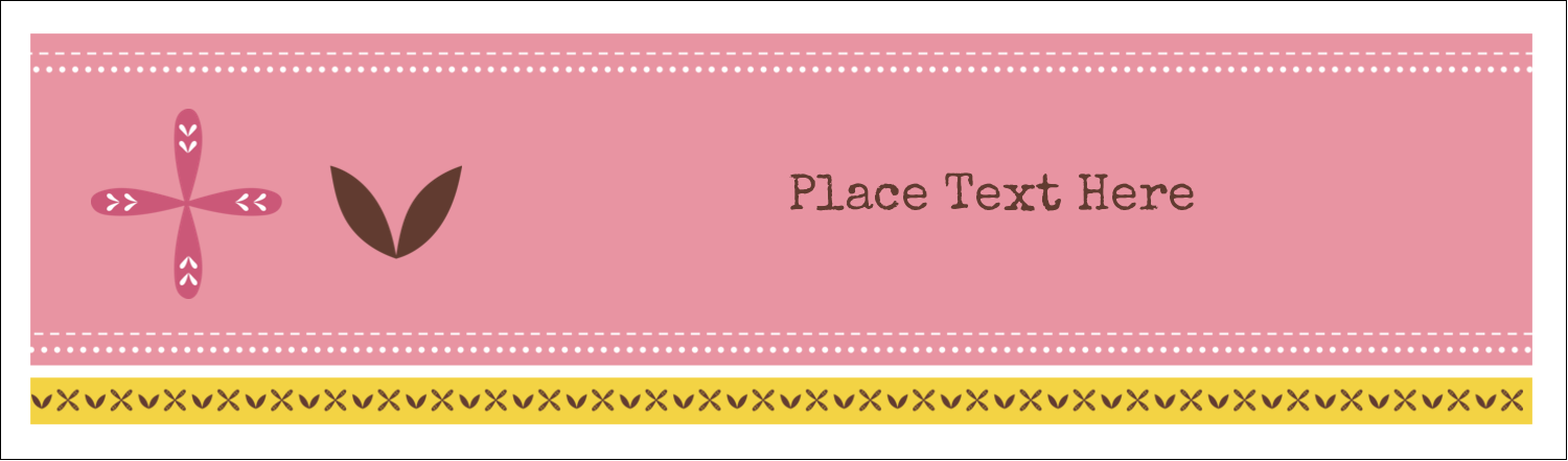 "2½"" x 8½"" Tent Card - Geometric Pink Blossoms"