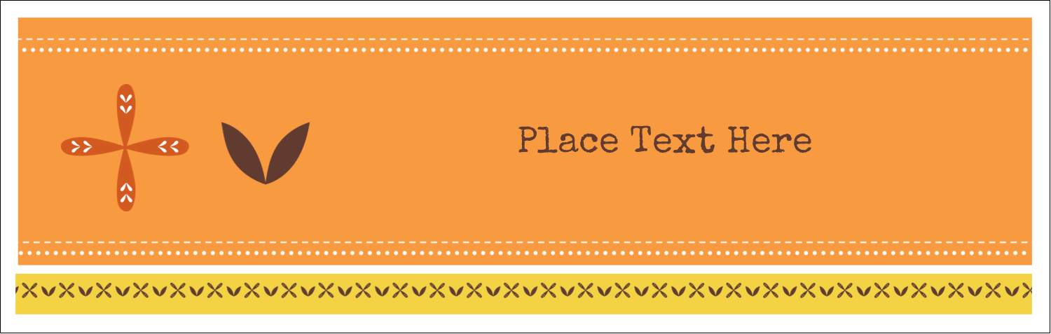 "3½"" x 11"" Tent Card - Geometric Orange Blossoms"