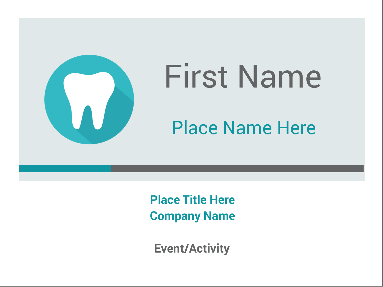 """3"""" x 4"""" Name Tags - Dentist Tooth"""