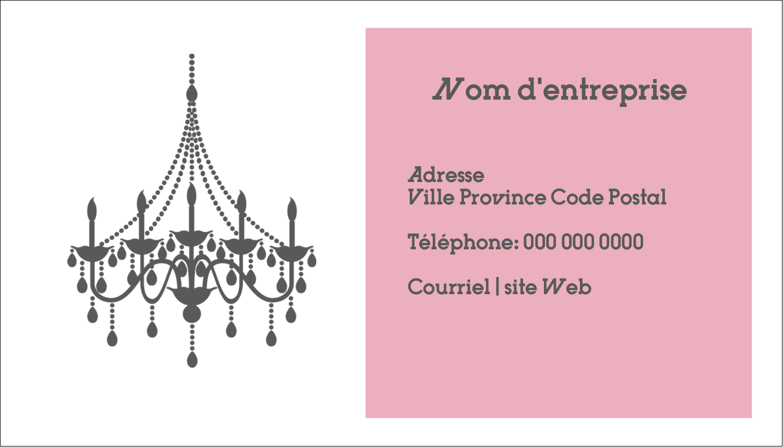 """2"""" x 3½"""" Carte d'affaire - Chandelier"""