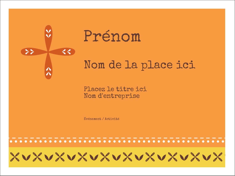 """3"""" x 4"""" Badges - Fleurs orange géométriques"""