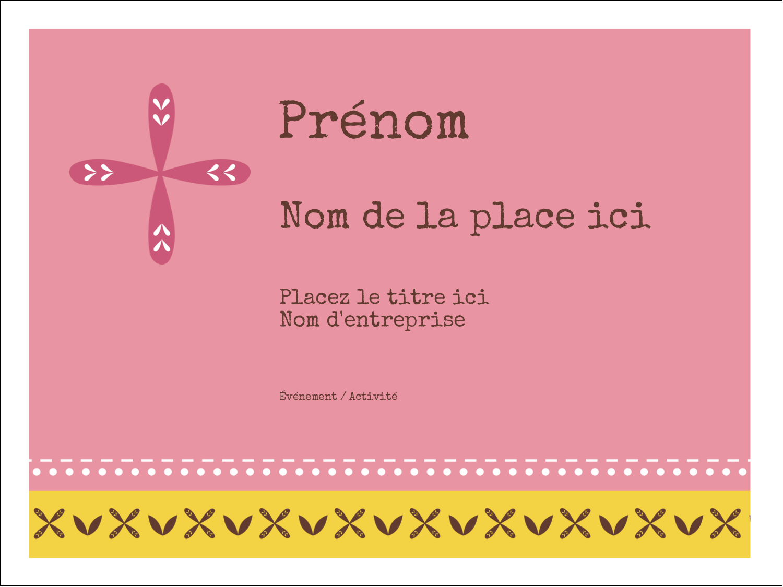 """3"""" x 4"""" Badges - Fleurs roses géométriques"""