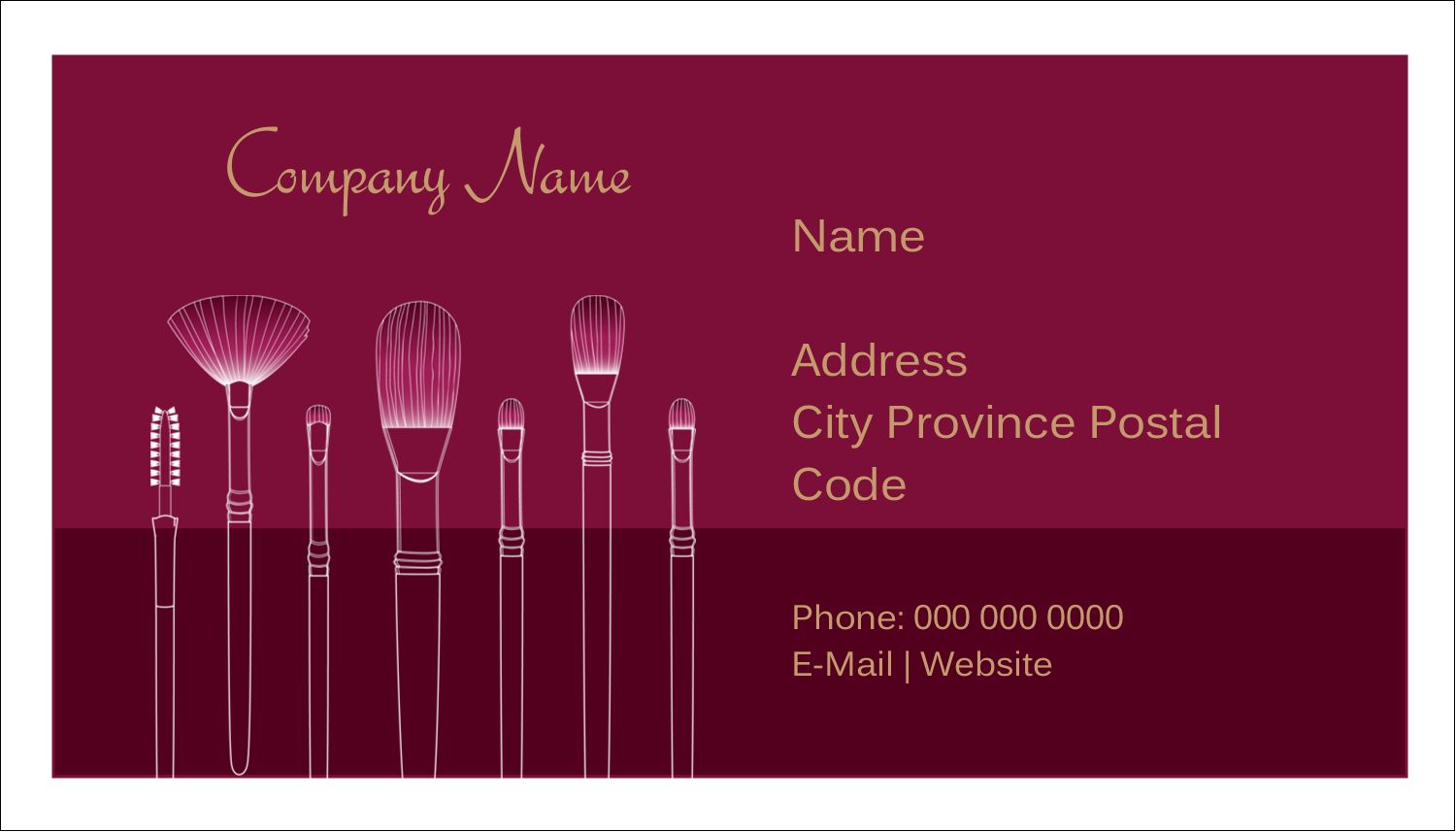 "2"" x 3½"" Business Card - Cosmetic Brushes"