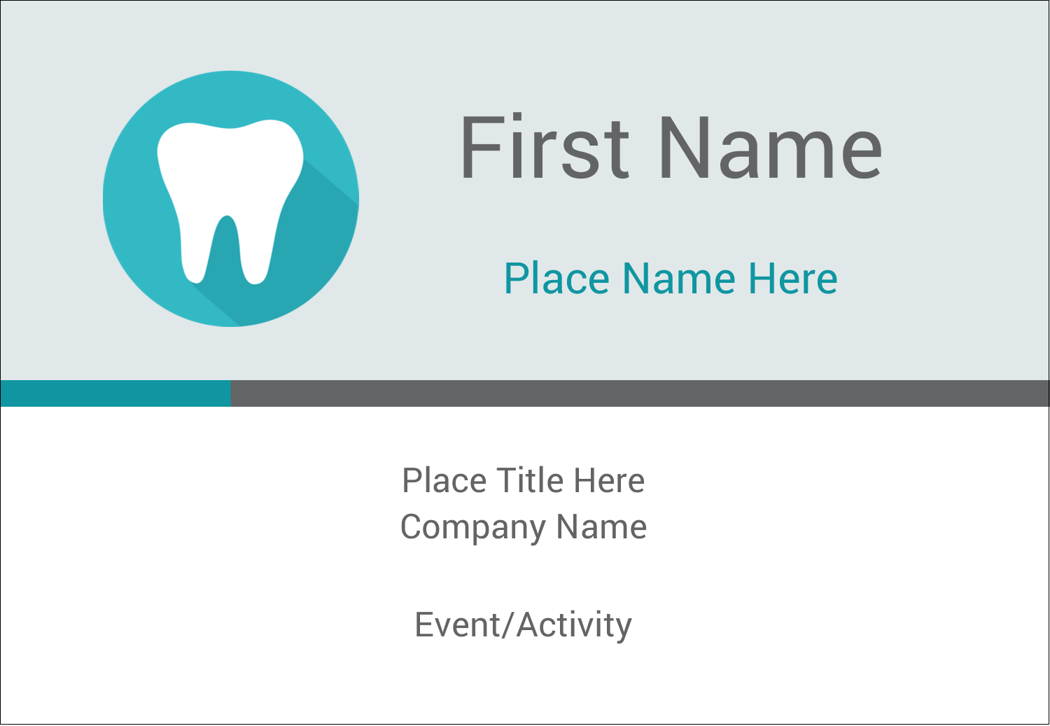 """3⅜"""" x 2⅓"""" Name Badge - Dentist Tooth"""