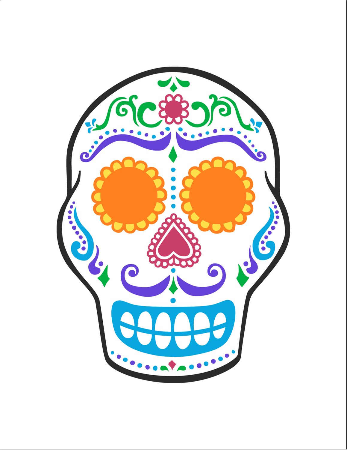 """8½"""" x 11"""" T-Shirt-Tranfers - Day of the Dead Skull"""