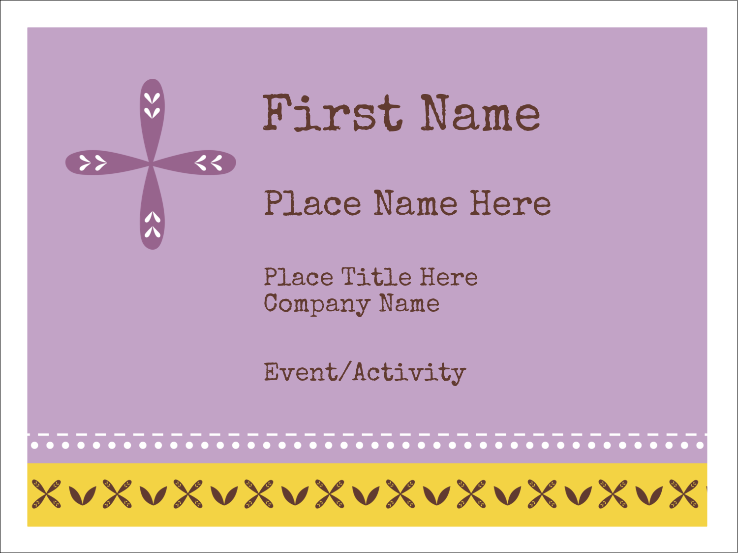 "3"" x 4"" Name Tags - Geometric Lavender Blossoms"