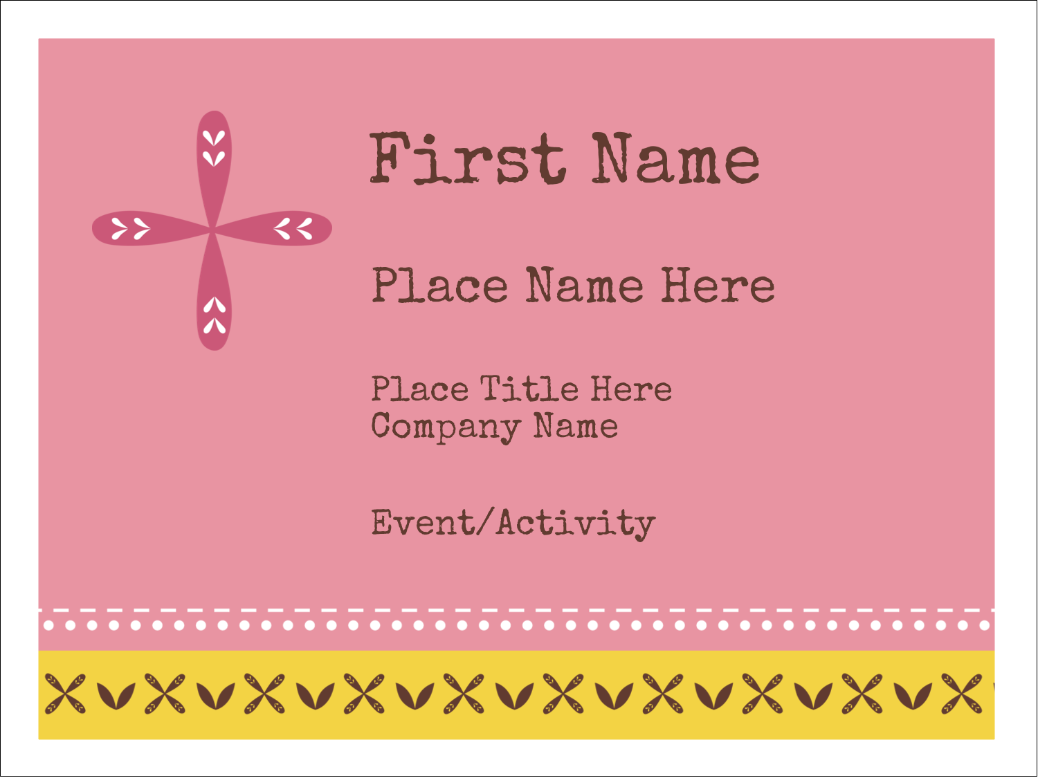 "3"" x 4"" Name Tags - Geometric Pink Blossoms"