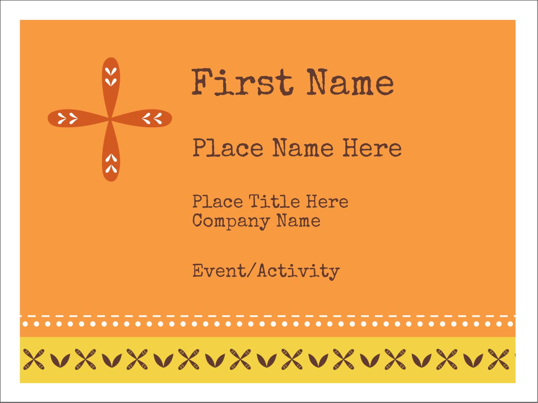 "3"" x 4"" Name Tags - Geometric Orange Blossoms"