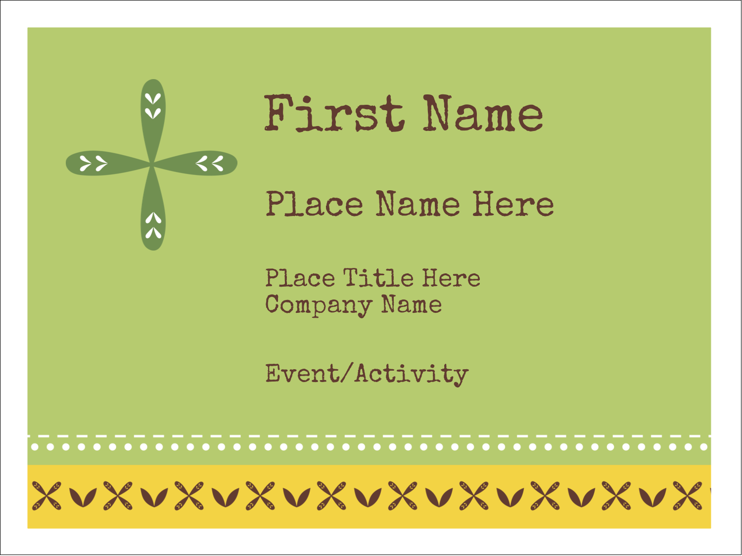 "3"" x 4"" Name Tags - Geometric Green Blossoms"