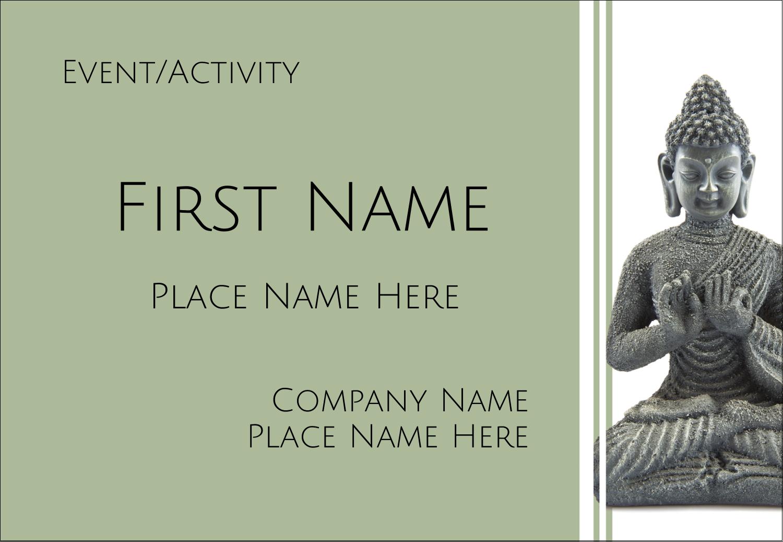 "3⅜"" x 2⅓"" Name Badge - Buddha"