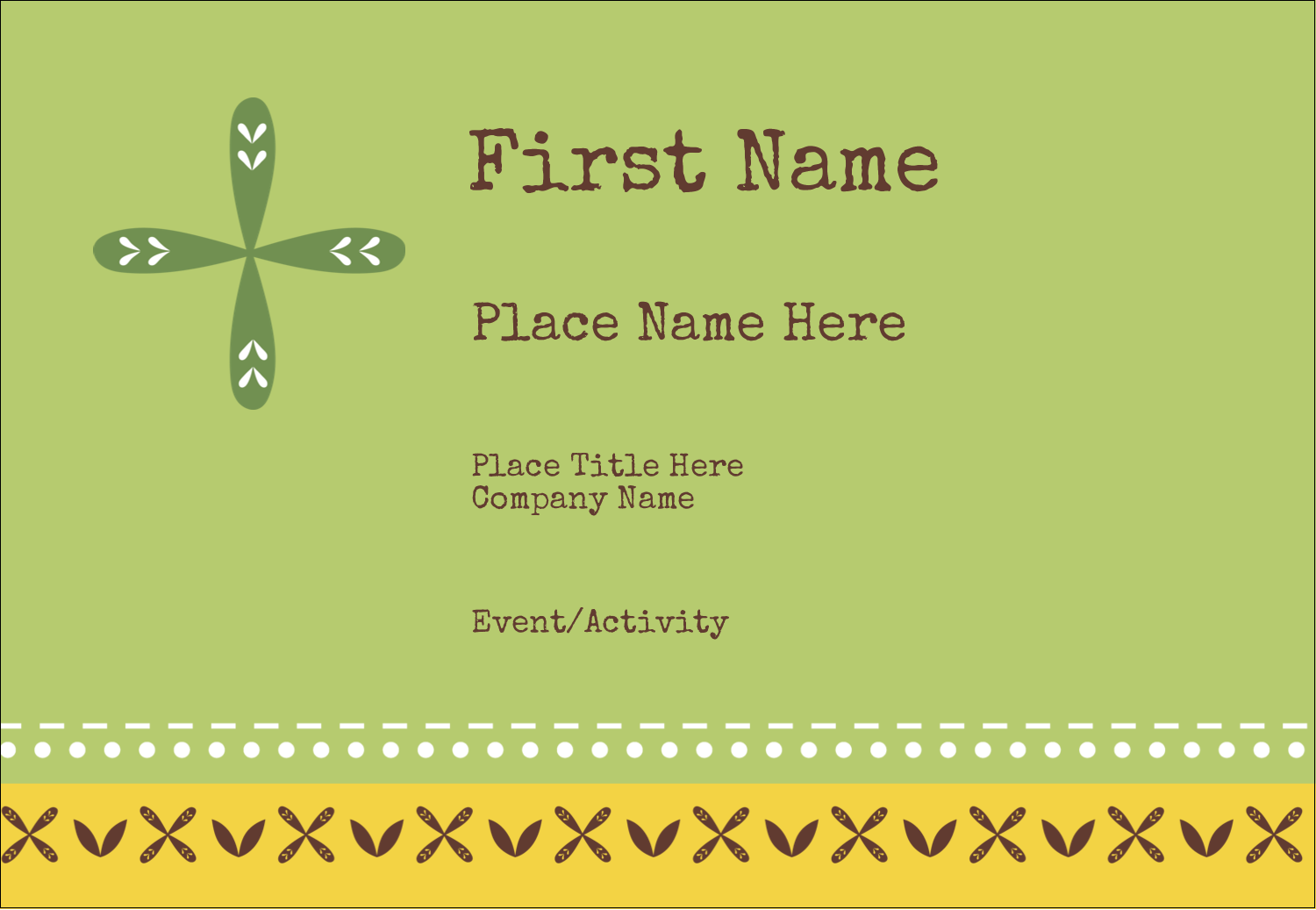 "3⅜"" x 2⅓"" Name Badge - Geometric Green Blossoms"