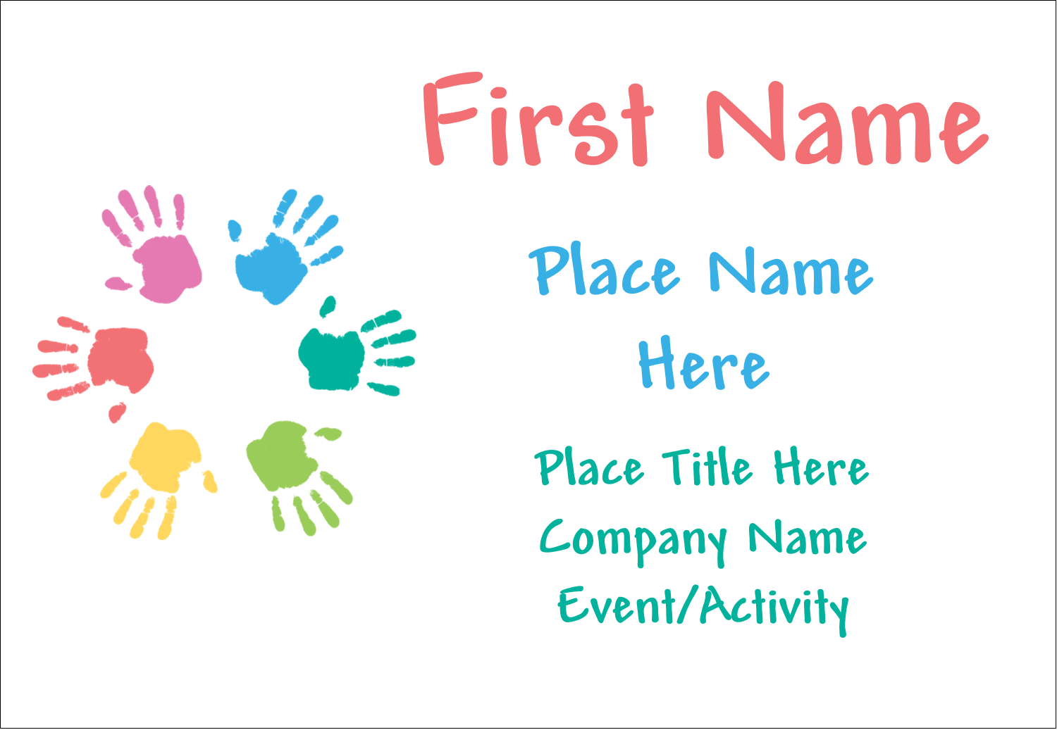 """3⅜"""" x 2⅓"""" Name Badge - Childcare Hands"""