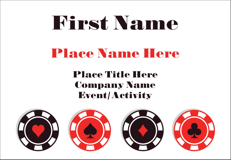 "3⅜"" x 2⅓"" Name Badge - Poker Game"
