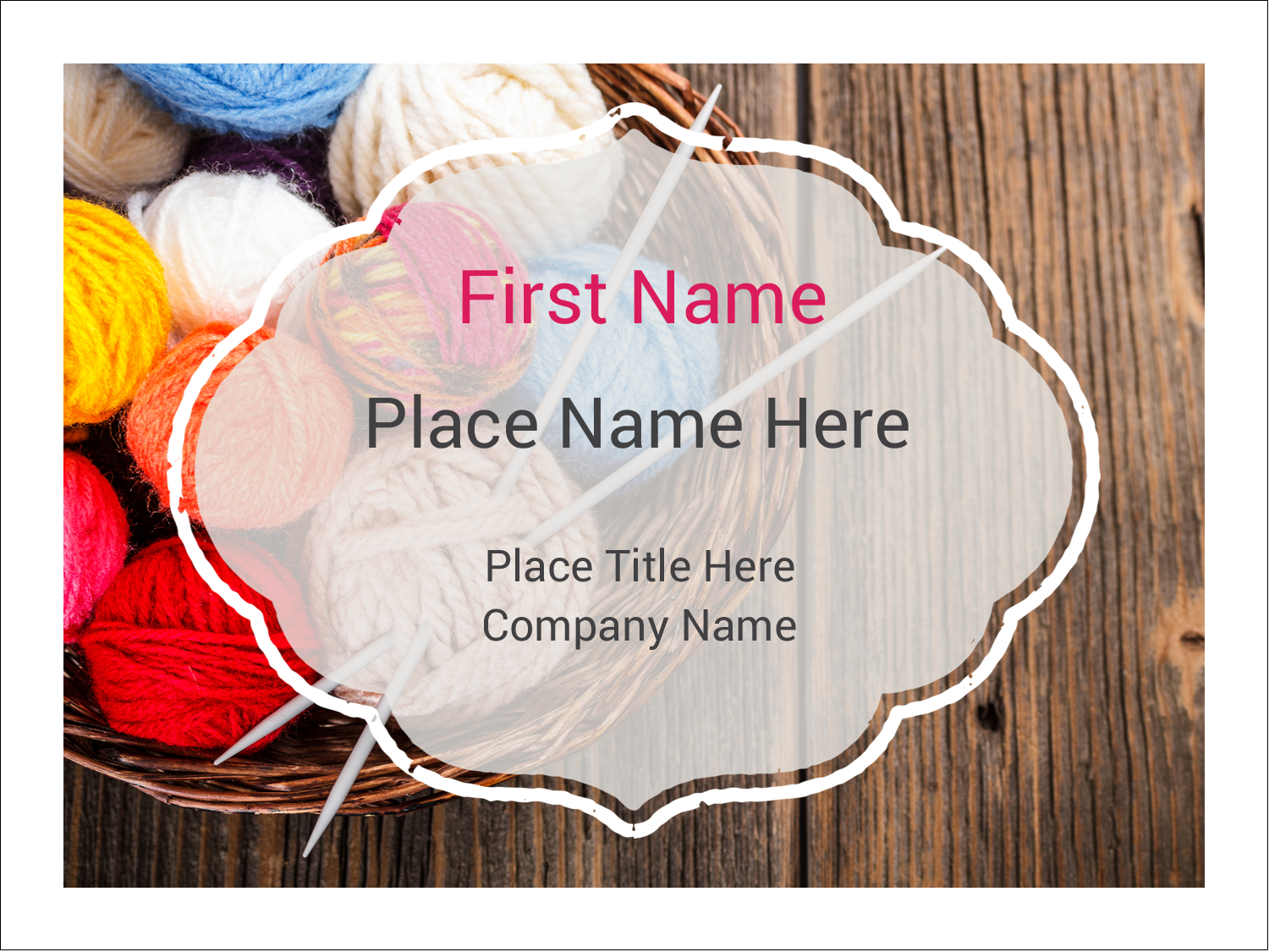 "3"" x 4"" Name Tags - Knitting Crafts"