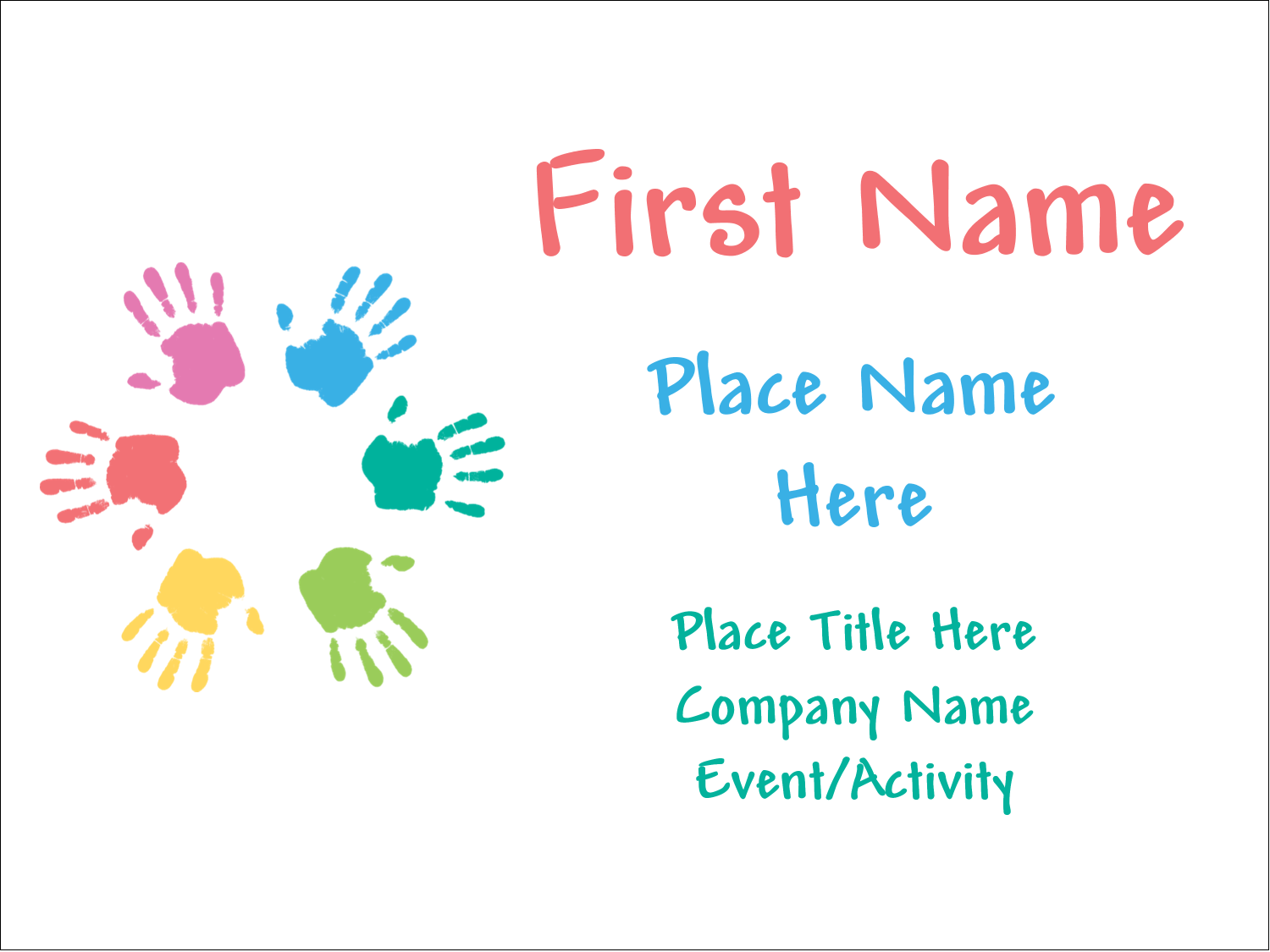 """3"""" x 4"""" Name Tags - Childcare Hands"""