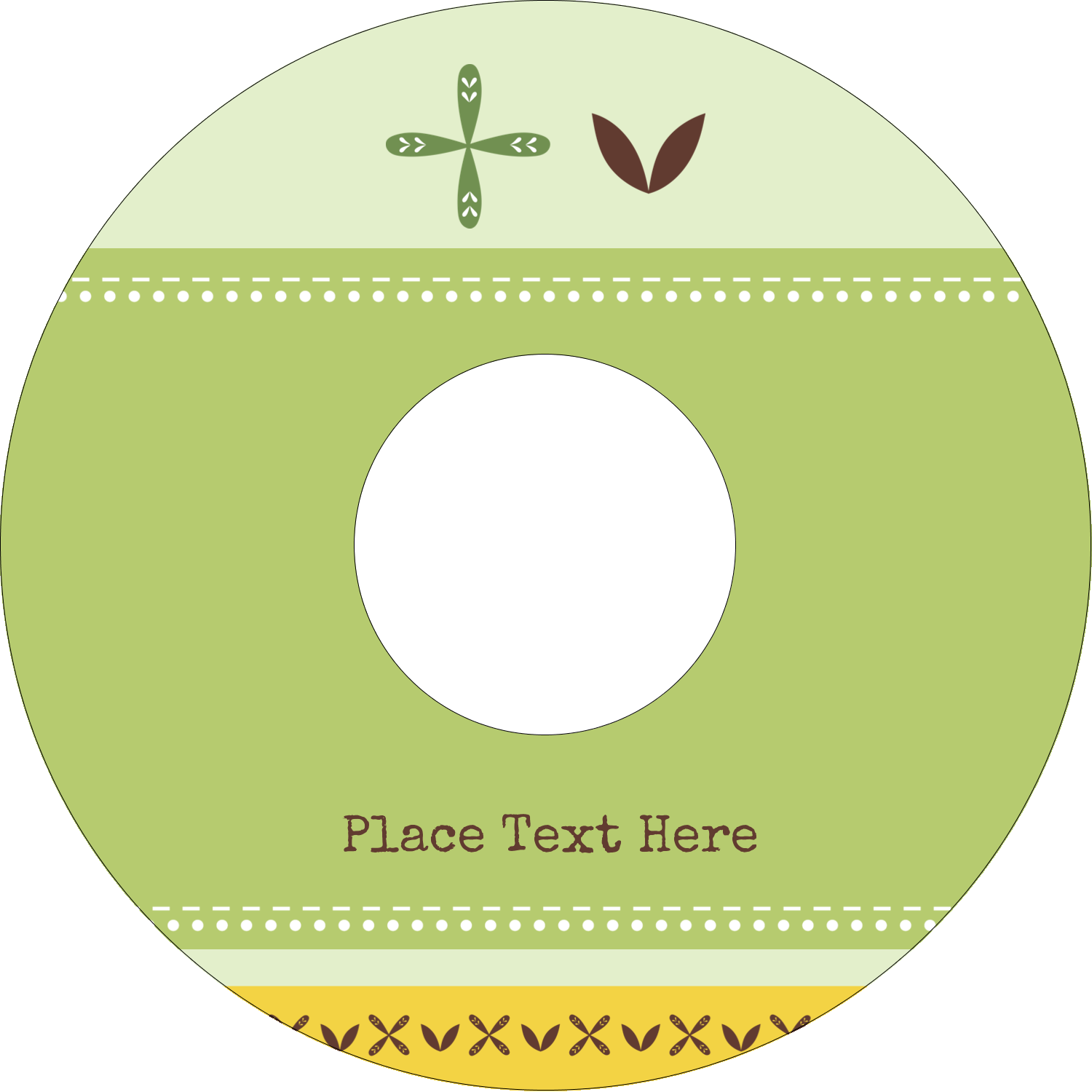 "4.65"" CD-DVD Label - Geometric Green Blossoms"