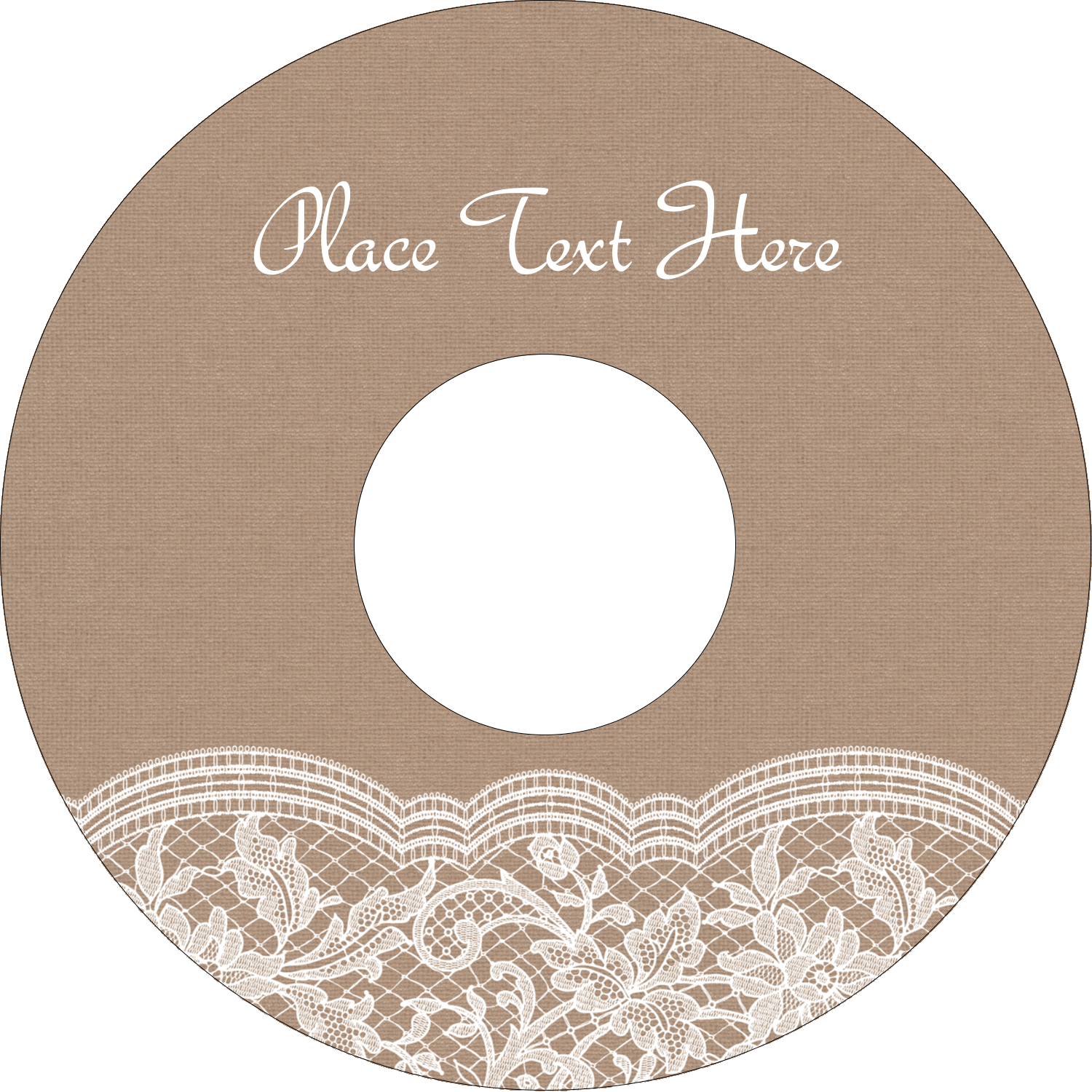 "4.65"" CD-DVD Label - Burlap Lace"