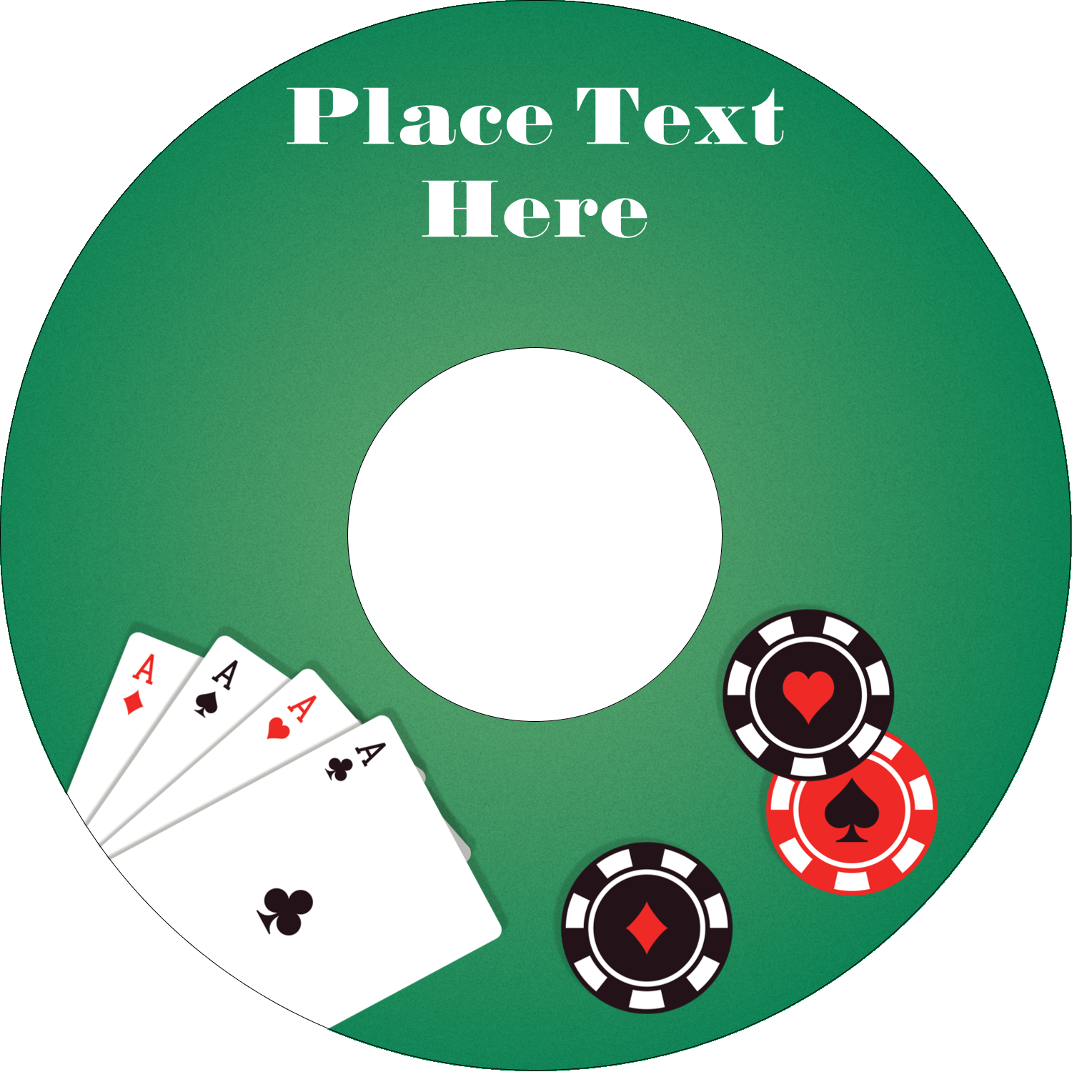 "4.65"" CD-DVD Label - Poker Game"