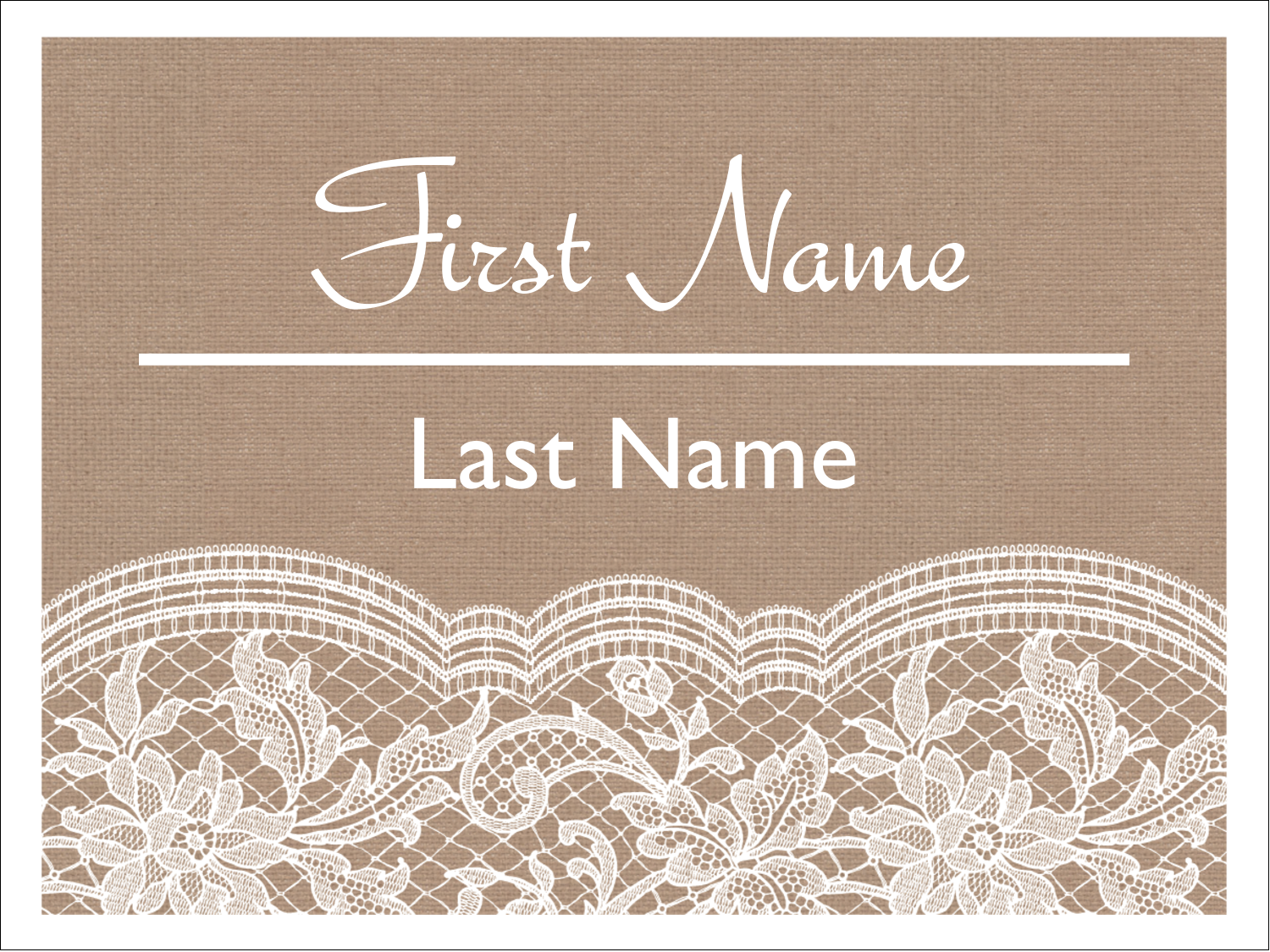 "4"" x 3"" Name Tags - Burlap Lace"