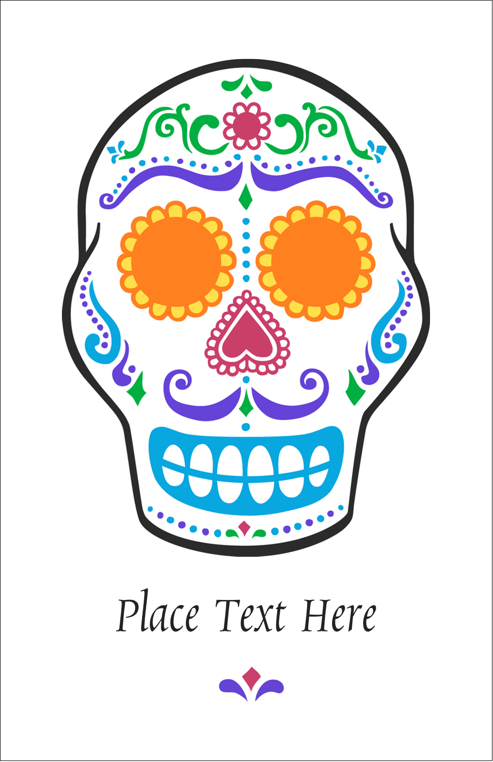 "5"" x 8½"" Half Fold Card - Day of the Dead Skull"