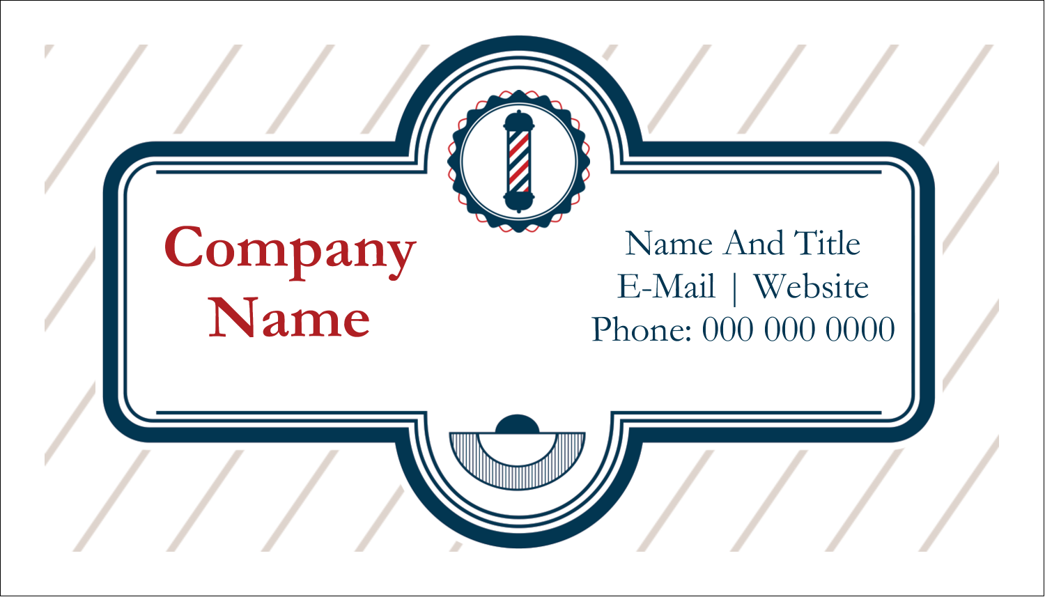 "2"" x 3½"" Business Card - Barber Pole"