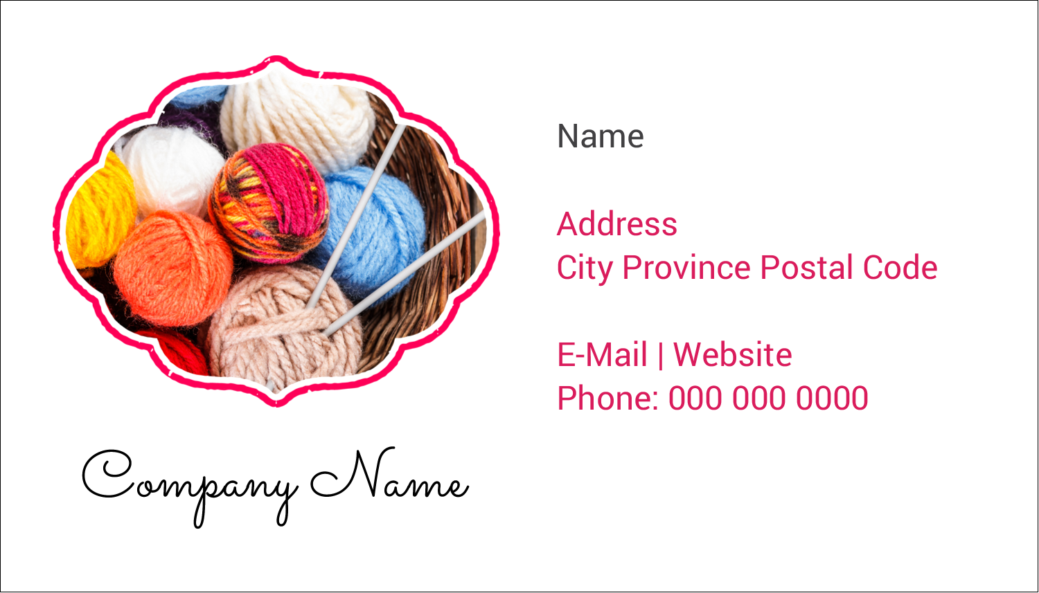 "2"" x 3½"" Business Card - Knitting Crafts"