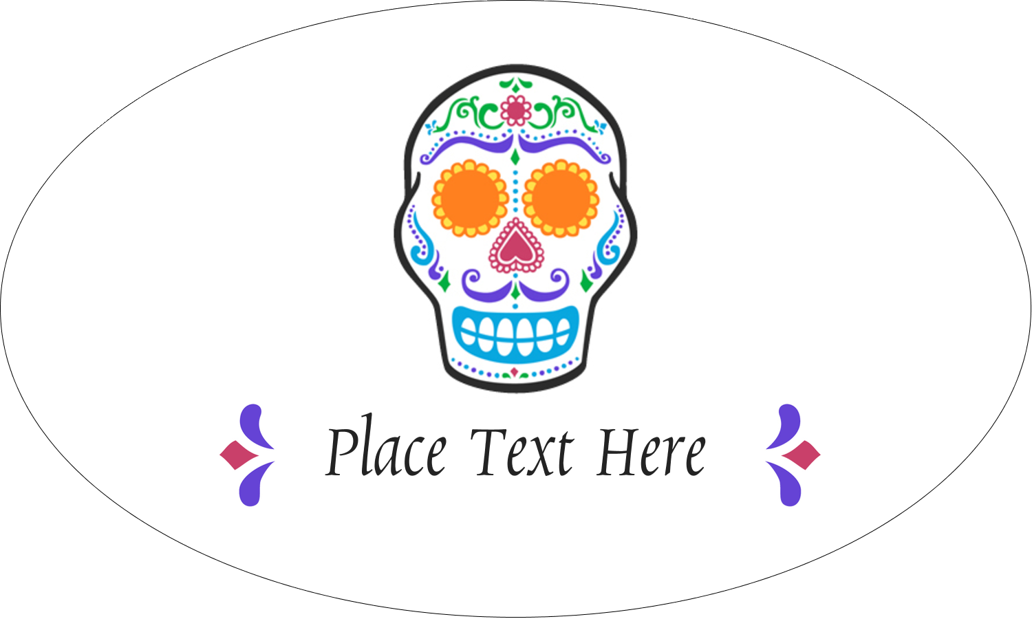 "1½"" x 2½"" Oval Glossy Label - Day of the Dead Skull"