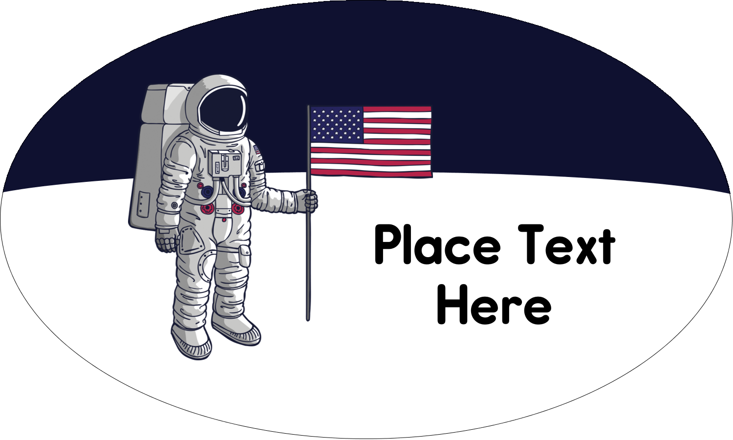 "1½"" x 2½"" Oval Glossy Label - Astronaut"