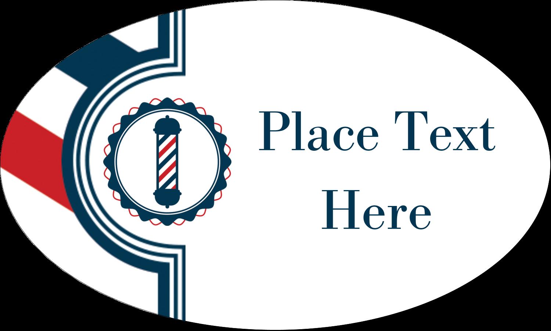 "1½"" x 2½"" Oval Glossy Label - Barber Pole Bold"