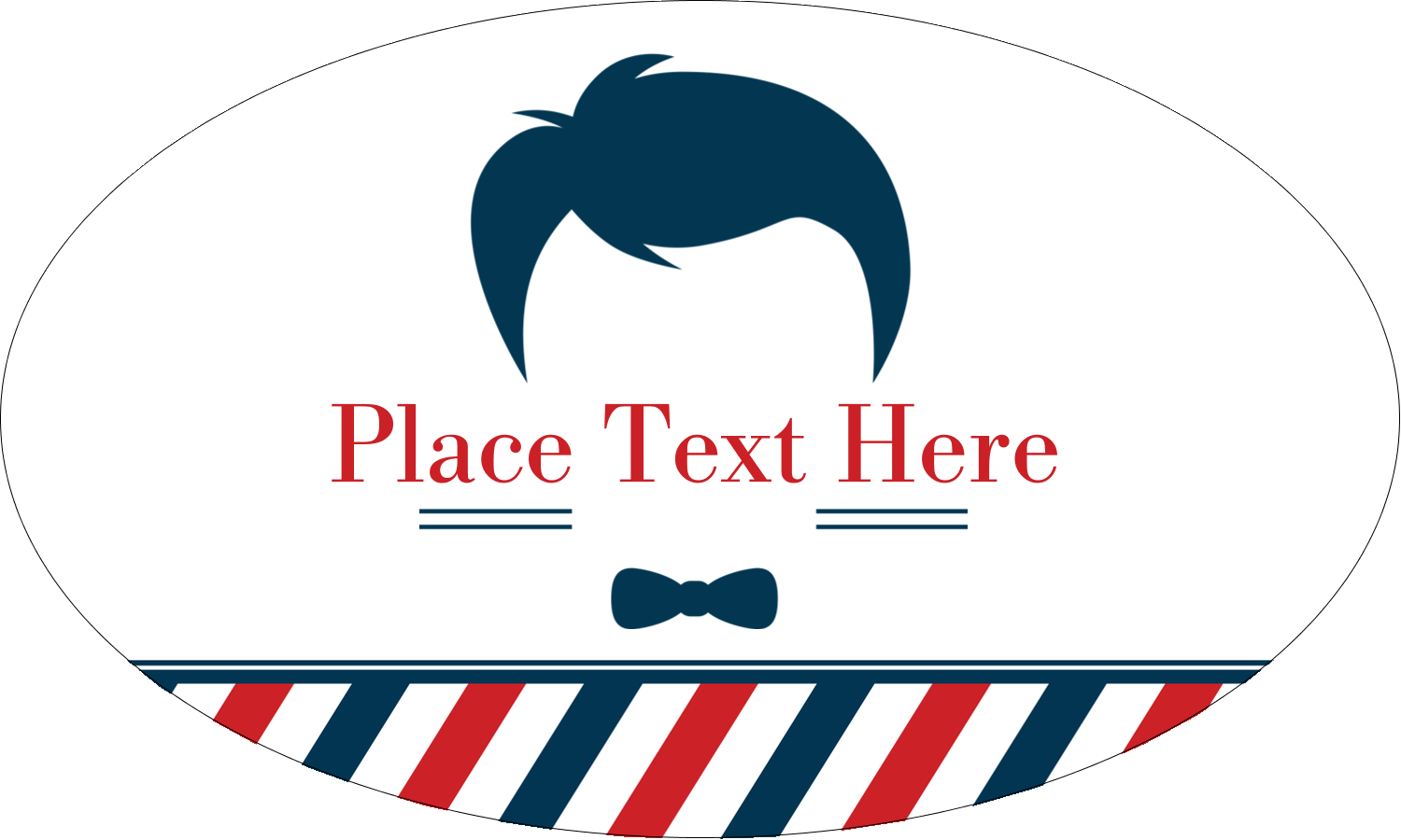 "1½"" x 2½"" Oval Glossy Label - Barber Shop"